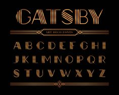 Vector of gatsby font and alphabet, gold letter set. Premium Vector - Vector of gatsby font and alphabet, gold letter set. Premium Vector The Effective Pictures We Offer - Art Deco Logo, Art Deco Typography, Font Art, Typography Letters, Letter Fonts, Graffiti Lettering, Monogram Fonts, Gatsby, Creative Lettering