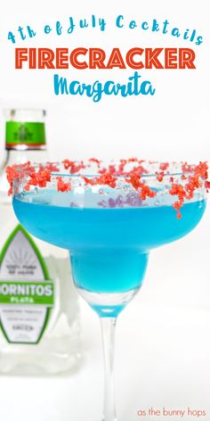 """holiday needs a signature cocktail. I humbly propose the super fun and super delicious Firecracker Margarita for the of July. It """"explodes"""" with flavor thanks to the Pop Rocks rim! Get the recipe at As The Bunny Hops. Holiday Drinks, Party Drinks, Fun Drinks, Beverages, Holiday Parties, Fourth Of July Drinks, 4th Of July Desserts, 4th Of July Celebration, 4th Of July Party"""