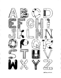 Disconnected Brain's Alphabet Muji 0,38 Black/Calligraphic Muji Pen/Orange Juice diluted with Black ink
