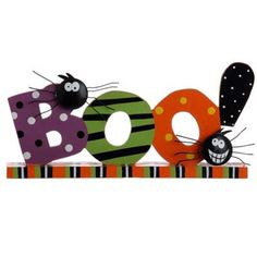 "RAZ Whimsical ""Boo"" Sign    Purple/Orange/Green  Made of MDF  Measures 6"" X 13""  Artist: Victoria Y. Hutto  RAZ Exclusive    Whimsical Boo sign decorated with stripes, polka"
