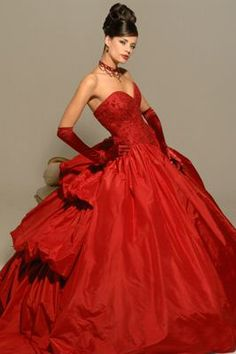 Simply beautiful RED Wedding Dress, Ball-Gown