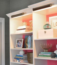 Besta + Billy bookcases from IKEA, transformed into a wall unit with storage and lighting | Centsational Girl