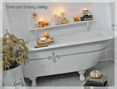 """This is an idea of what to do with the cast iron bathtub (yes, craigslist find) that is """"stored"""" in my """"work room"""" (the garage). Hopefully I""""ll get the money together to do the bathroom."""