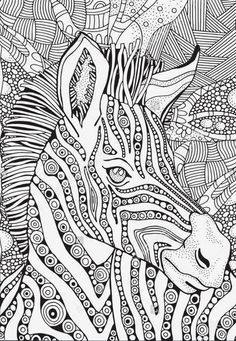 Coloring Book page for Adult and children. Zebra in zentangle style. Black and white monochrome background. Arte Zebra, Zebra Kunst, Zebra Art, Zebra Coloring Pages, Mandala Coloring Pages, Coloring Book Pages, Zentangle Patterns, Mandala Art, Tree Art
