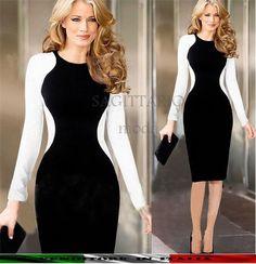 Abito tubino contrasto bianco nero snellente elegante vestito donna manica lunga