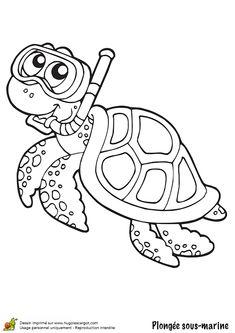 Une tortue faisant de la plongée sous-marine, à colorier