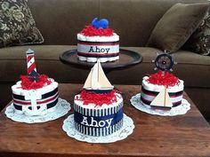 Nautical Baby Shower Centerpiece Ideas | Ahoy its a Boy Nautical Sailing Baby by bearbottomdiapercakes, $12 ...