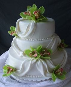 I dunno how I feel about the flowers exactly, but this cake is so elegant and beautiful. by delores