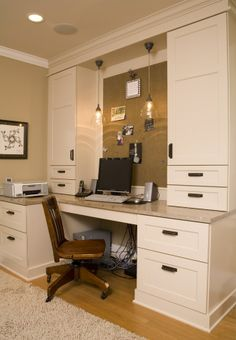 I love this for an office, desk cabinets for office and cork board in front of desk