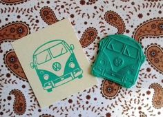 VW bus front clear polymer rubber stamp by sugarskull7 on Etsy, $15.00