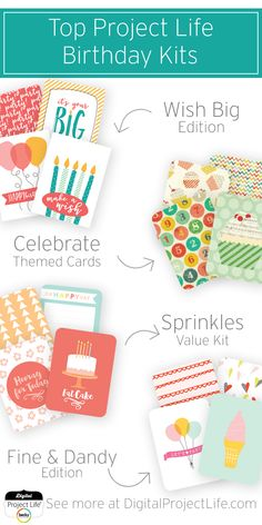 These Digital Project Life Collections have cards and color schemes perfect for documenting birthdays! Digital Project Life, Project Life Cards, Special Day, Eat Cake, Sprinkles, Color Schemes, Birthdays, Scrapbooking, Projects