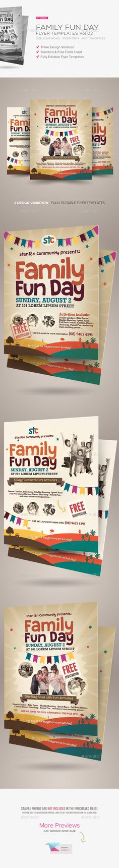 Family Fun Day Flyers Vol.02 are design templates created for sale on Graphic River. More info of the templates and how to get the sourcefiles can be found on this page: http://graphicriver.net/item/family-fun-day-flyers-vol02/8972453?r=kinzi21