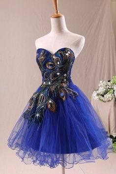 Royal Blue short peacock cocktail dress  Prom Dress party dress designer prom gowns, affordable junior prom dresses, and graduation dresses