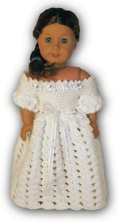 "free crochet pattern/ american girl christmas dress | Ravelry: American Girl or 18"" Doll Wedding Dress Crochet... / crochet ..."