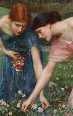 ⊰ Posing with Posies ⊱ paintings of women and flowers - Gather Rosebuds While Ye May (Detail)