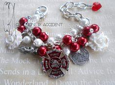 Firefighter Themed Charm Bracelet on Etsy, $25.00