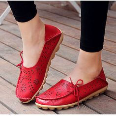 Women s Genuine Leather Flats Spring Ladies Slip-on Red Hollowed-out Loafer  Fashion Breathable Black Flat Shoes 2017 Brand New 988b4ed714a7