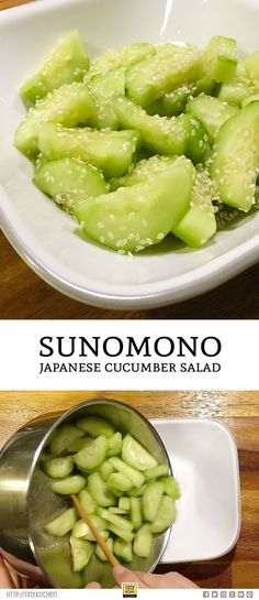 How to Make Sunomono: Japanese Cucumber Salad. Sunomono is a quick and easy japanese cucumber salad dressed with minimal ingredients. This recipe is a sweet and tangy side dish can go alongside any asian meal. Salad Recipes Healthy Lunch, Cucumber Recipes, Salad Recipes For Dinner, Chicken Salad Recipes, Easy Healthy Recipes, Asian Recipes, Vegetarian Recipes, Japanese Food Recipes, Vegetarian Japanese Food