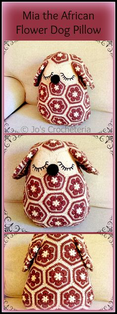 Mia the African flower Dog Pillow - Crochet Pattern! By Jo's Crocheteria - inspiration Crochet Home, Love Crochet, Crochet Motif, Crochet Dolls, Crochet Baby, Knit Crochet, Crochet Patterns, Crochet Cushions, Crochet Pillow
