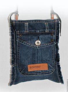 Купить Джинсовая сумка-карман - синий, однотонный, джинсовый стиль, джинс, джинса