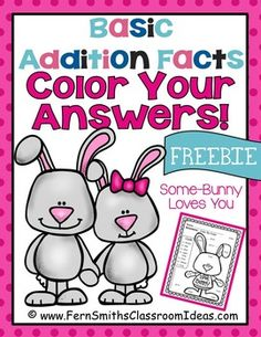 FREE St. Valentine's Day Fun! Basic Addition - Color Your