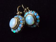 Sold (IF you are not Little Millie do not purchase) Gorgeous Gold Estate Opal Earrings - From Opals to Pearls: Milky Jewels - Opal Earrings, Opal Jewelry, I Love Jewelry, Turquoise Jewelry, Fine Jewelry, Jewelry Design, Silver Jewellery, Silver Necklaces, Tiffany Jewelry