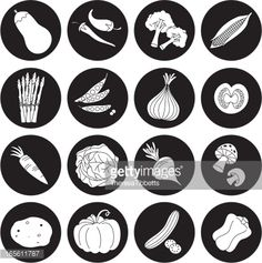 View top-quality illustrations of Black And White Vegetable Icon Set. Find premium, high-resolution illustrative art at Getty Images. Flat Design, Vector Graphics, Icon Set, Diy And Crafts, Black And White, Illustration, Image, Infographic, English