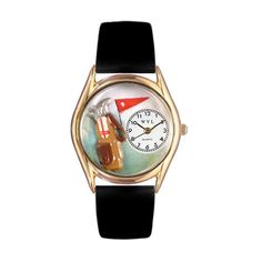 Golf Bag Black Leather And Goldtone Watch