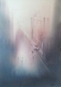 by Aitor Renteria Watercolor Artwork, Watercolor Landscape, Conceptual Drawing, Art Aquarelle, City Art, Painting Inspiration, Painting & Drawing, Art Photography, Street Art