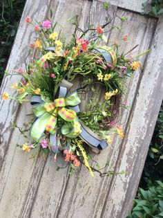 Spring Wreath Front Door Wreath Whimsical Wreath Everyday Double Door Wreaths, Spring Front Door Wreaths, How To Make Wreaths, Spring Wreaths, Diy Wreath, Grapevine Wreath, Wreath Making, Wreath Ideas, Easter Wreaths
