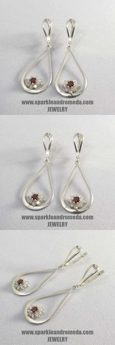 Sterling 925 silver earrings with 2 round 4 mm red almandine color and 16 round 3 mm and 2 round 2 mm white color cubic zirconia gemstones. 925 Silver Earrings, Hoop Earrings, Gemstones, Red, Handmade, Color, Jewelry, Hand Made, Schmuck
