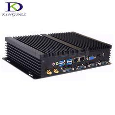 8G RAM + 256G SSD Supporto Linux Ubuntu PC industriale Mini computer Mini PC senza ventola PC desktop Mini computer Processore Intel Core i5 4200U 6 RS232 COM 4USB 3.0 Dual HDMI 2LAN Windows 10