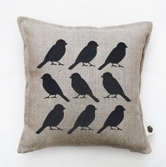 Bird pillow cover - black birds cushion cover -  bird print throw pillow - cushion cover for shabby chic home decor  0136 - pinned by pin4etsy.com