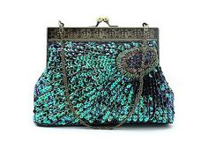 Green Peacock Feather Sparkle Purse