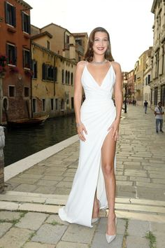 Bella Hadid Just Channeled a Modern Day Marilyn Monroe on the Red Carpet in Venice via Brit + Co