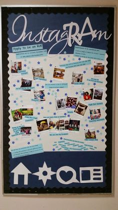 Engagement bulletin board! RA Recruitment board, using an instagRAm theme! Features staff members and the amazing things they do around campus. via Sarah, Leischuck Hall