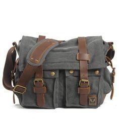 Dark Gray Canvas Leather Camera Bag Leisure Shoulder Bag Messenger Bag DSLR Camera Bag 2138D
