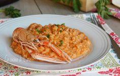 risotto alla crema di scampi ricetta primo di pesce. Ricetta primo piatto Vigilia di Natale. Ricetta risotto alla crema di scampi come farla a casa