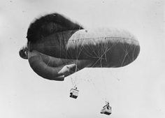 WWI, 6 June 1917; A French observation balloon at the Vadenay aerodrome. ©IWM  (Q 58223)
