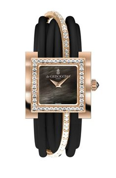 de GRISOGONO Allegra watch in pink gold featuring a black mother-of-pearl dial with pink gold dauphine hands and a bezel set with 44 white diamonds as well as a pink gold clasp set with 40 diamonds.