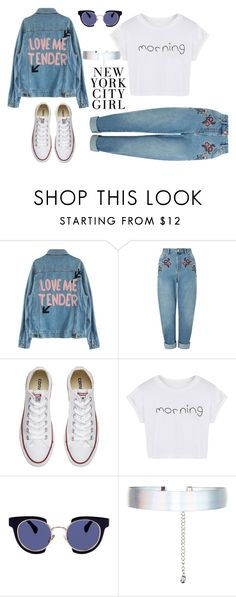"""""""City Girl"""" by stylistvibes ❤ liked on Polyvore featuring Miss Selfridge, Converse, WithChic, Kaleos and Accessorize"""