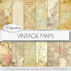 "Vintage maps digital paper, ""VINTAGE MAPS"" backgrounds,antique maps, old world, globe, America, Europe, Asia, Australia, maps, scrapbooking"