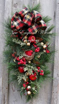 Traditional Holiday Berry & Cardinal Swag by NewEnglandWreath