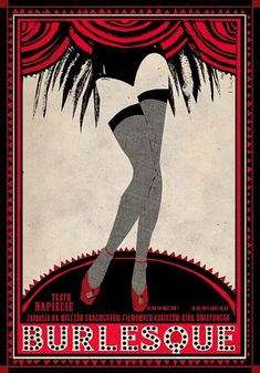 Polish poster by Ryszard Kaja, 2014, Burlesque film evening.
