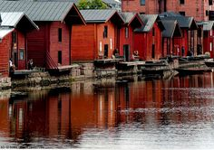 The old town from Porvoo in Finland.is a medieval village which is still inhabited and remain unchanged