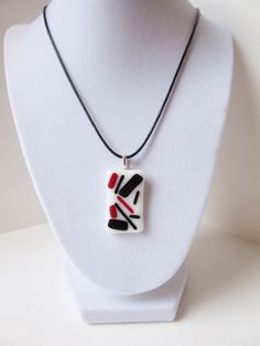 Items similar to Statement Necklace, Black and White with Red Accents, Abstract Fused Glass Pendant, Modern Big Bold Jewelry, One of a Kind Jewelry on Etsy Fused Glass Jewelry, Glass Pendants, Bold Jewelry, Unique Jewelry, Handmade Jewelry, Dog Tree, Red Accents, Dichroic Glass, Gift For Lover