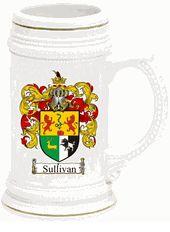 Family Crest Beer Stein / Mug (gold trim)