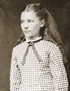 Young Laura Ingalls Wilder, circa 1880s. Born in 1867, Laura wrote of her early life in a nine book series, beginning with Little House on the Prairie.