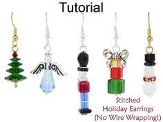 Christmas Earrings Beading Tutorial Easy by SimpleBeadPatterns
