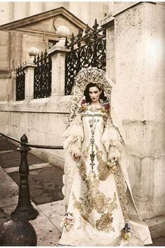 I just love everything about this picture; the dress (Christian Lacroix), the setting, the color